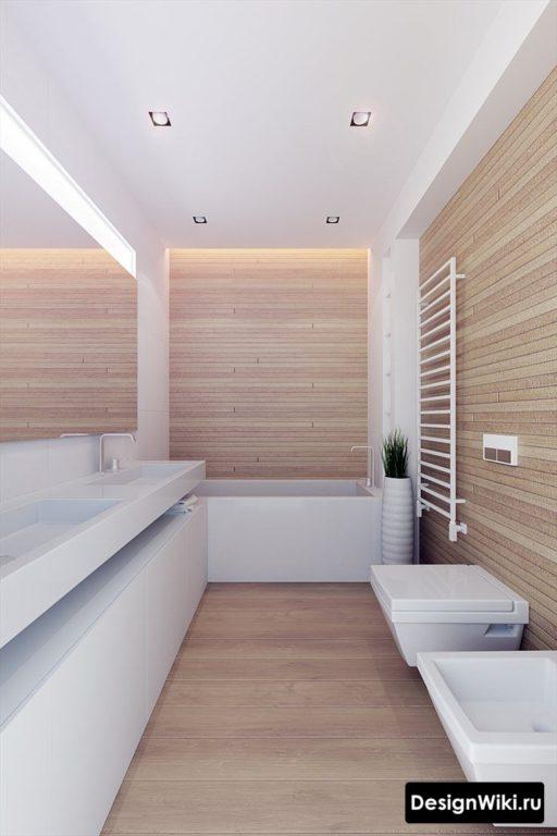 Плитка светлое дерево в ванной комнате