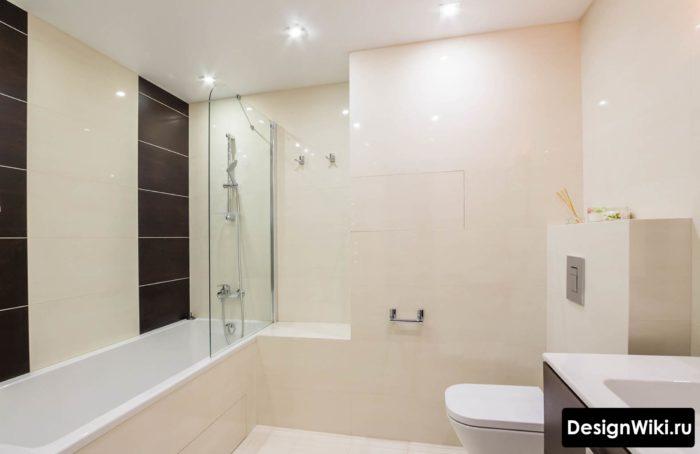 Простой актуальный дизайн ванной комнаты