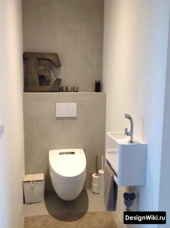 Простой дизайн туалета в стиле минимализм