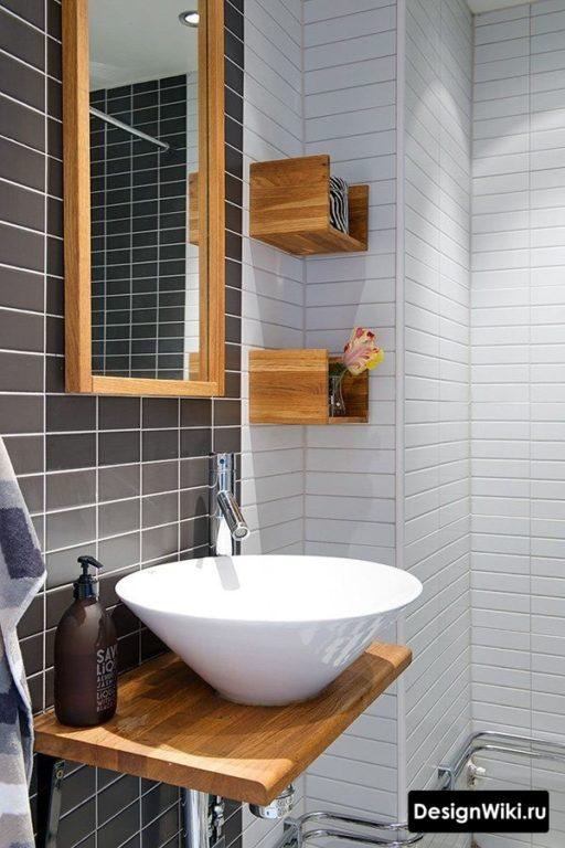 Раковина чаша на столешнице из ДСП в ванной #интерьер #дизайнванной