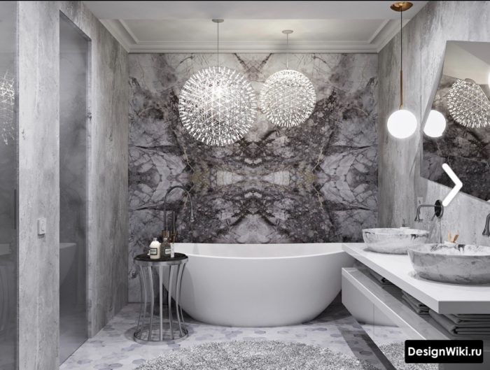 Роскошная серая ванная в стиле арт-деко
