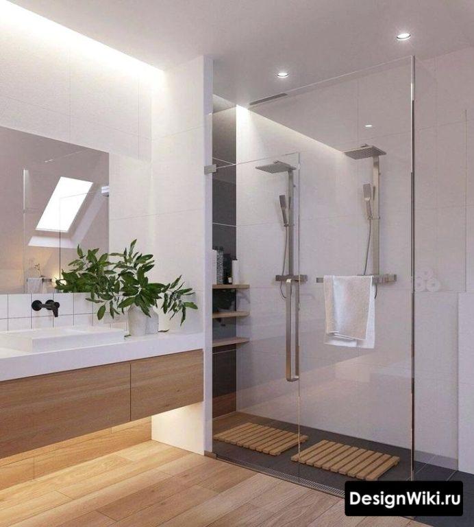 Светлое дерево и белый цвет в ванной в скандинавском стиле