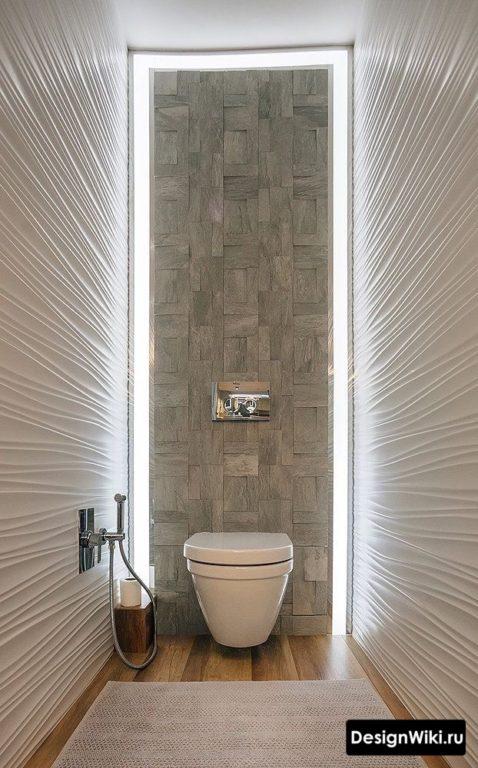 Светодиодная подсветка стены за унитазом