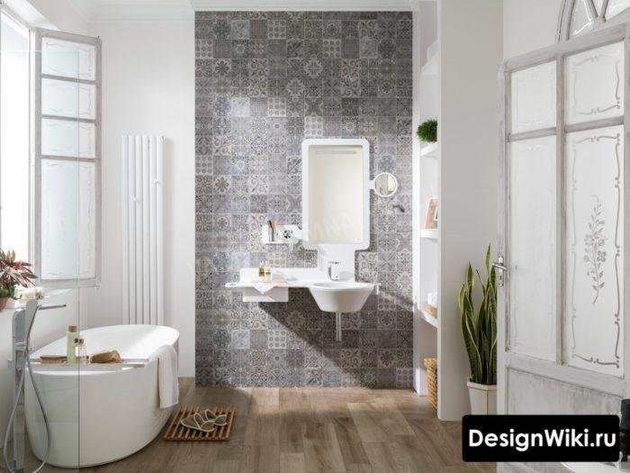Серая плитка с узором в скандинавской ванной комнате