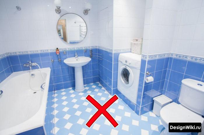 Синий устаревший дизайн ванной