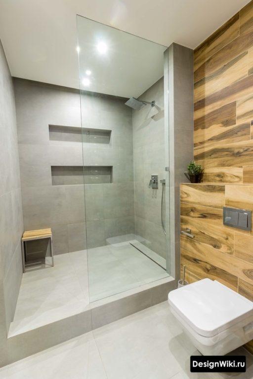Скандинавский стиль ванной с душем и туалетом