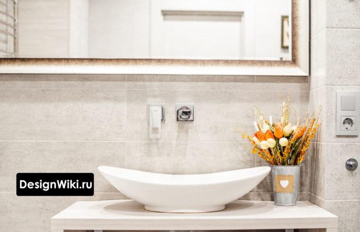 Смеситель в современном дизайне ванной комнаты