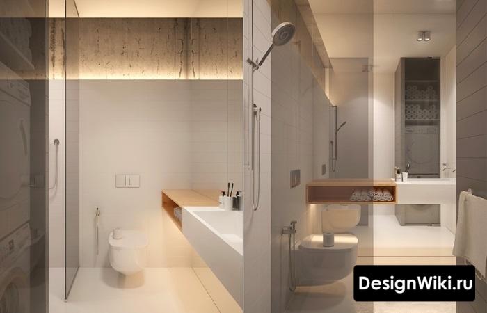 Смесь лофта и скандинавского стиля в ванной