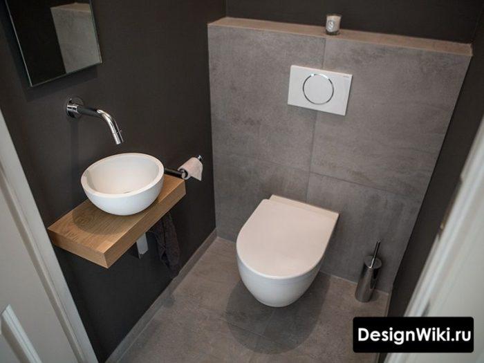 Современная идея дизайна туалета в стиле лофт