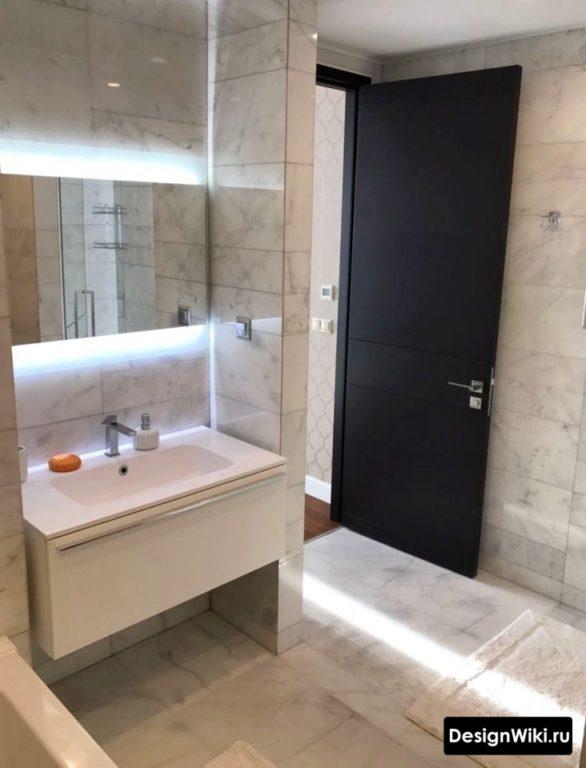 Современная идея для ванной - подвесная тумба