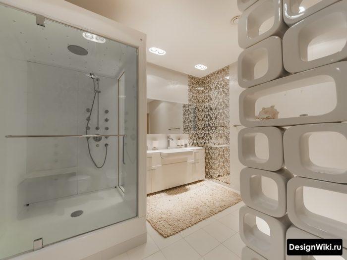 Современный дизайн душевой кабины в ванной комнате
