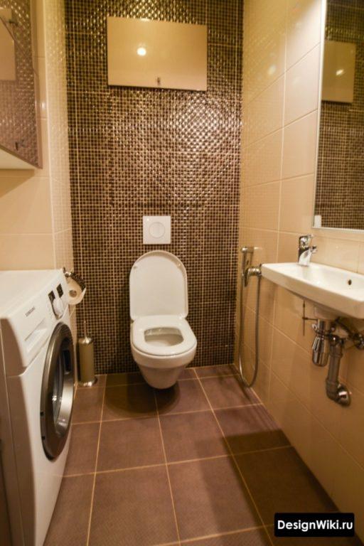 Современный туалет 3 кв.м со стиральной машиной