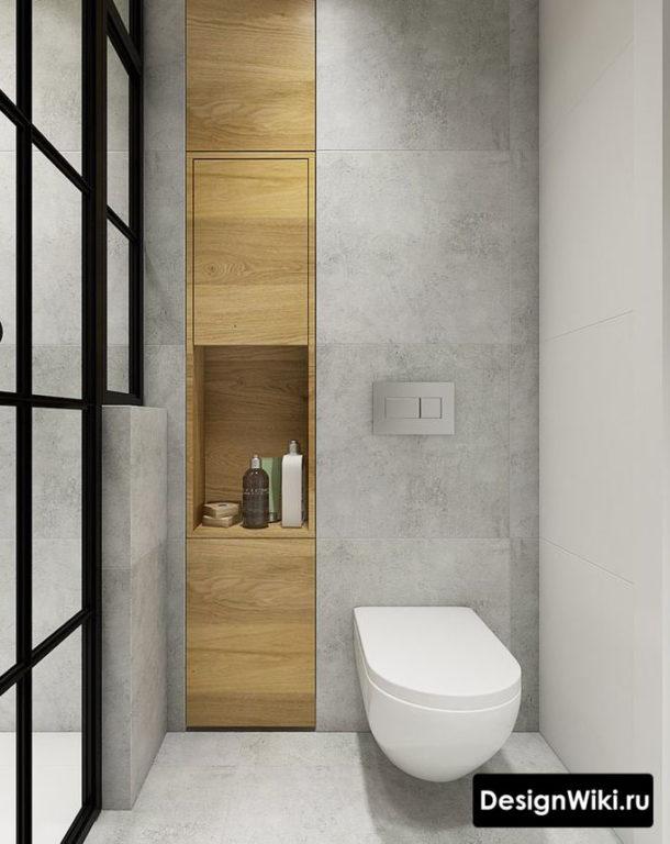 Сочетание дерева и бетона в туалете