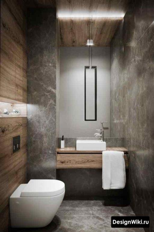 Сочетание плитки под дерево и бетон в #лофт туалете #дизайн