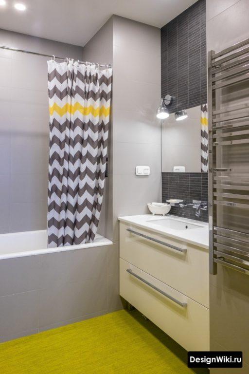 Сочетание серого с желтым в ванной