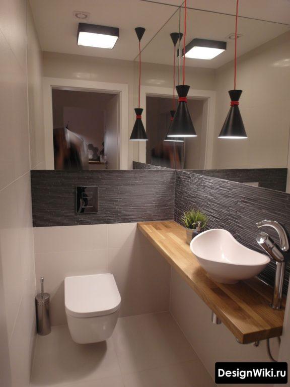 Стильный #дизайн туалета с зеркалом #интерьер