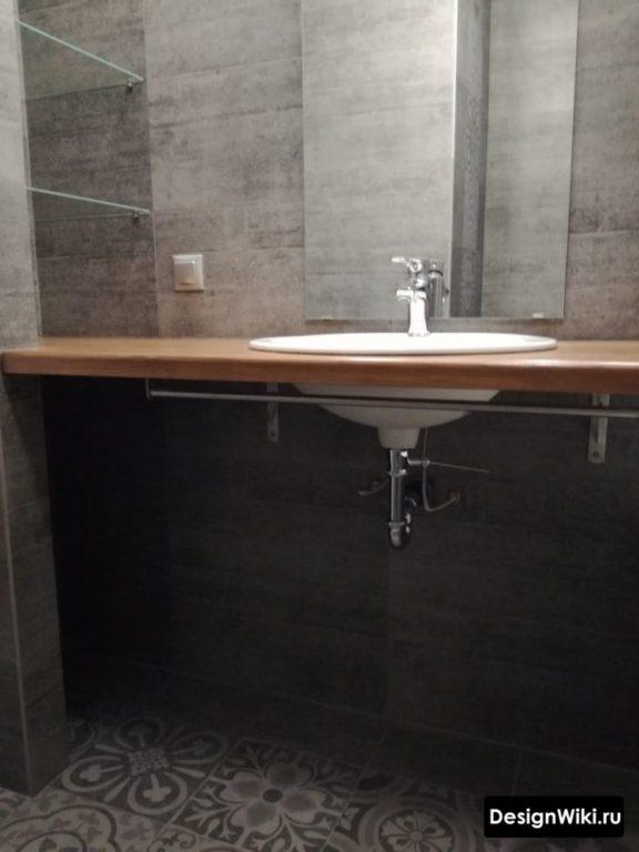Столешница из ДСП в современной ванной комнате