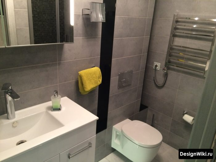 Тёмно-серый цвет в современной ванной