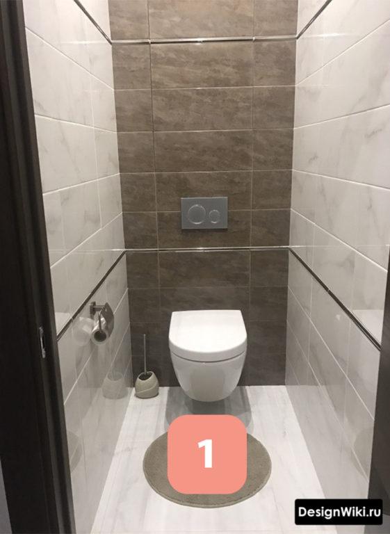 Укладка плитки в туалете при скрытом люке #ремонт #дизайн