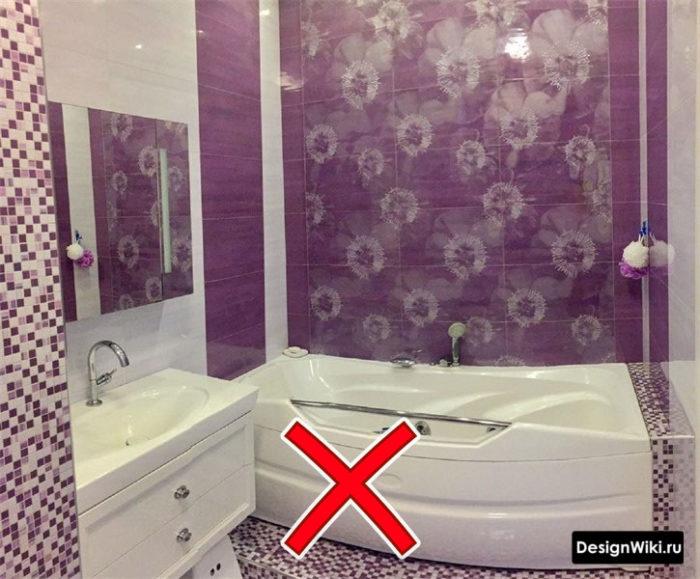 Фиолетовая плитка с цветами - ошибка