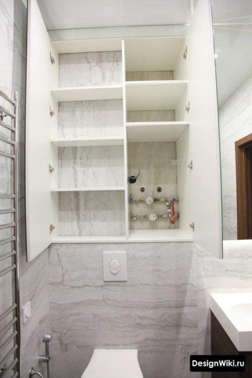 Шкаф в ванной комнате над инсталляцией