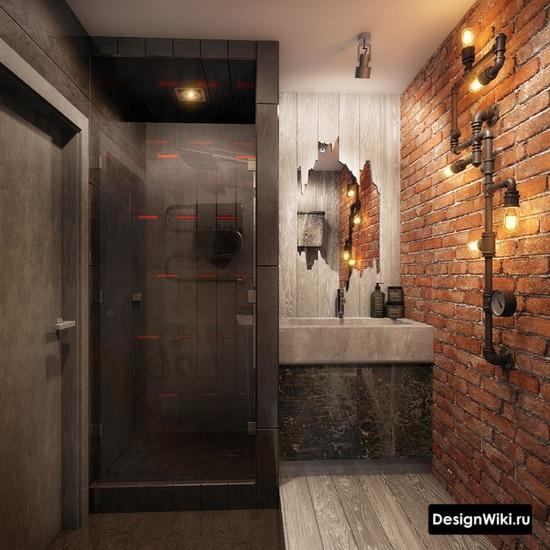 Аутентичная ванная в стиле лофт с красным кирпичом