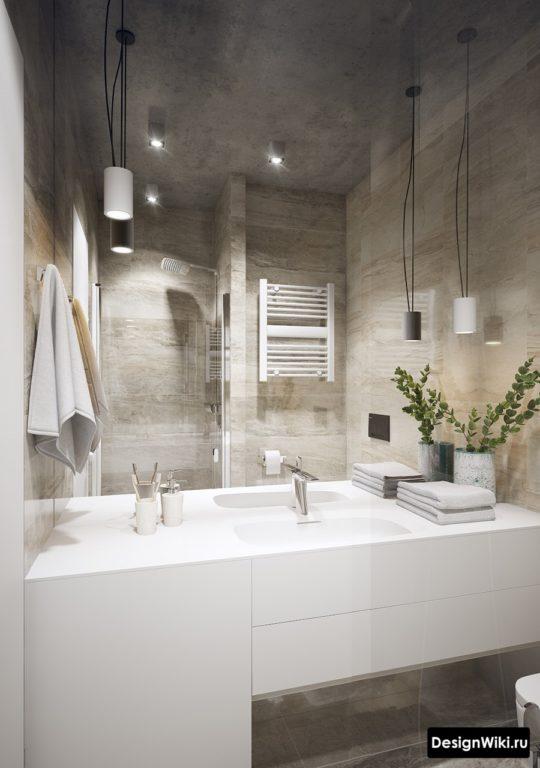 Белая акриловая столешница с литой раковиной в ванной в стиле лофт