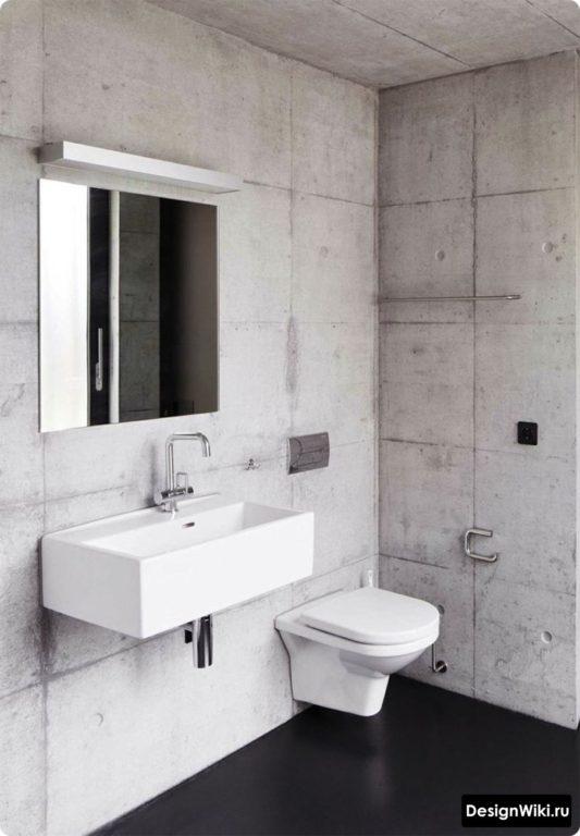 Бетонная ванная в стиле лофт