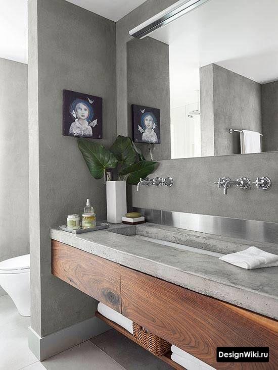 Бетонная столешница в ванной в стиле лофт