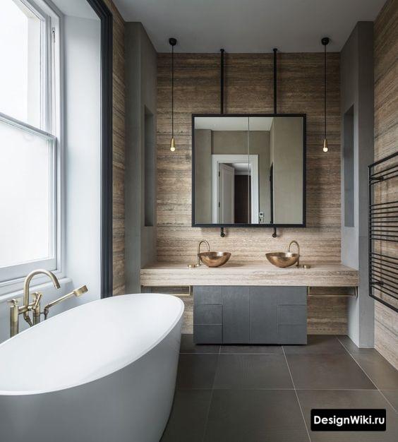 Бронзовая сантехника в лофт ванной