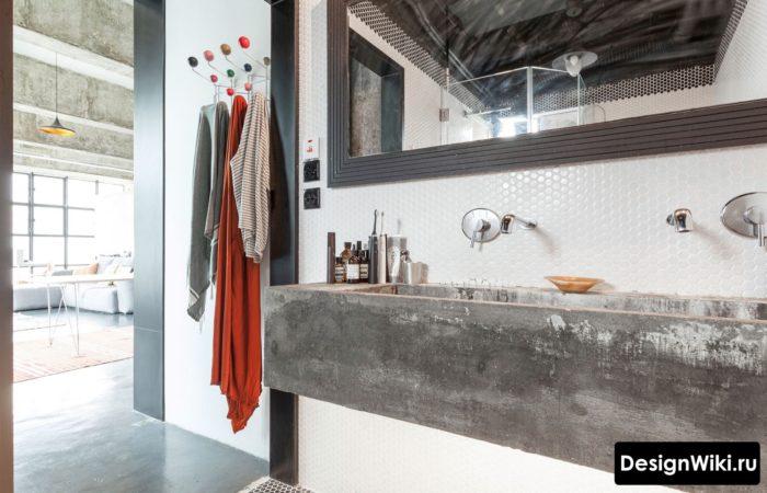 Брутальная бетонная раковина в стиле лофт