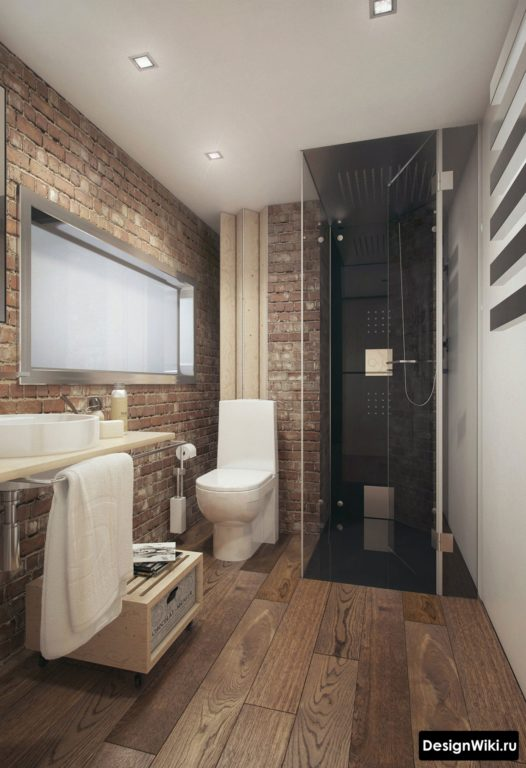 Брутальная ванная в стиле лофт с кирпичной кладкой