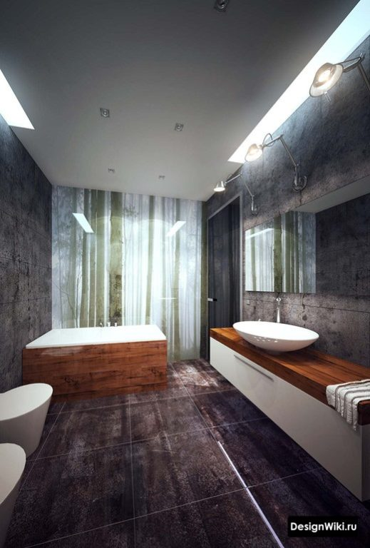 Брутальная ванная в стиле лофт