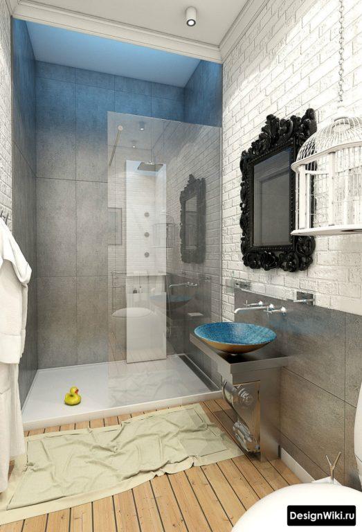 Ванная с душем в стиле лофт