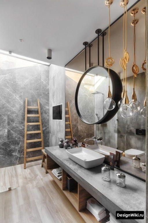 Ванная с элементами арт-деко и лофта