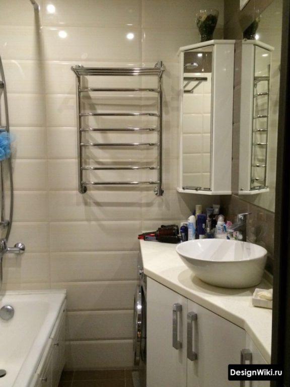 Встроенная стиральная машина в ванной в хрущевке