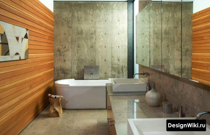 Деревянная ванная в стиле лофт