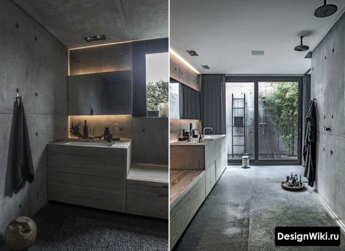 Индустриальный дизайн ванной в стиле лофт
