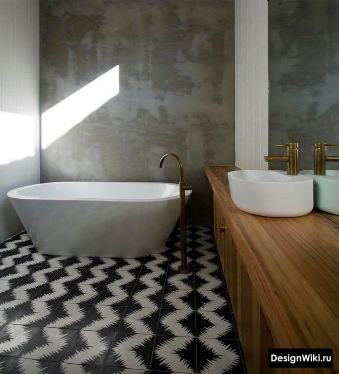 Интерьер ванной в стиле лофт с бетоном и деревом