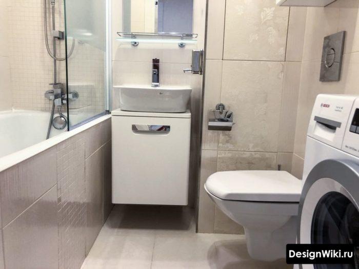 Интерьер ванной в хрущевке с туалетом и стиральной машиной