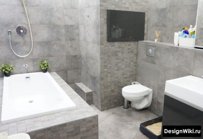 Как выбрать серую плитку для ванной