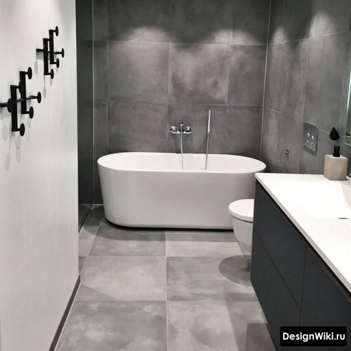 Квадратная плитка 60-60 под бетон в ванной