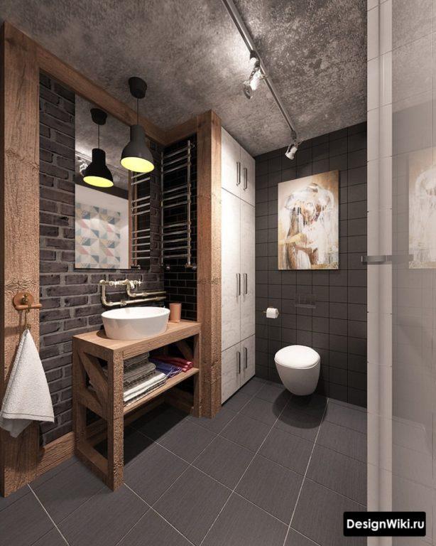 Мебель и сантехника в ванной в стиле лофт