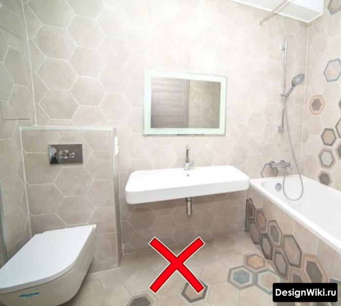 Можно ли укладывать шестиугольную плитку на все стены ванной