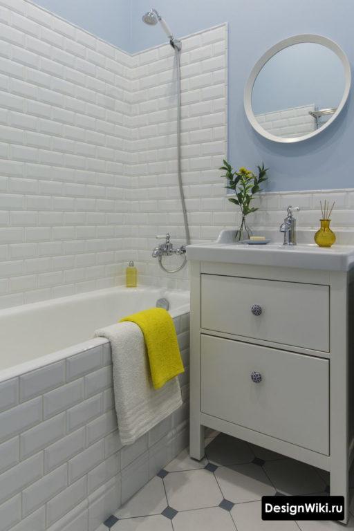 Недорогой современный ремонт ванной комнаты в хрущевке #дизайн