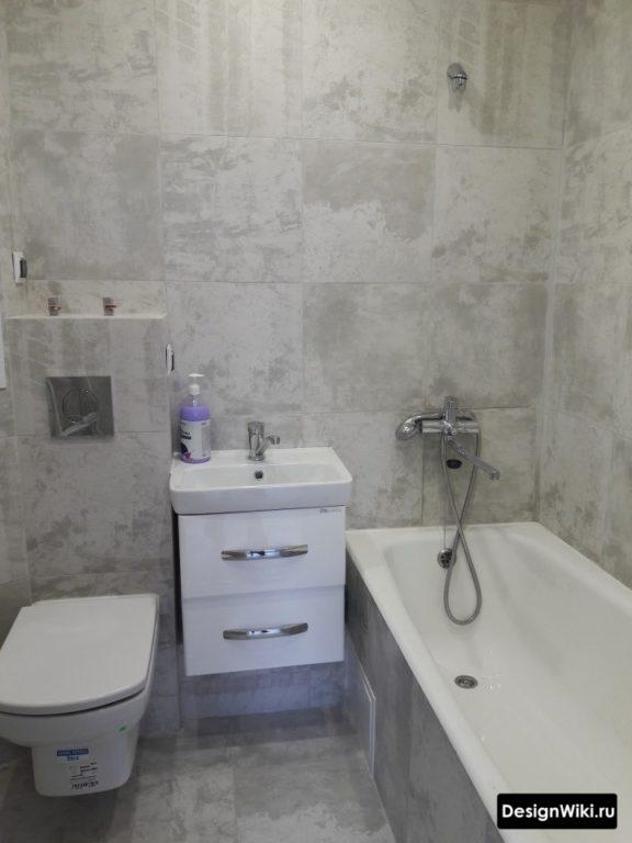 Отделка всех стен ванной в хрущевке 1 видом плитки