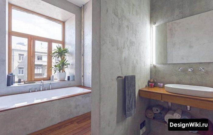 Отделка стен лофт ванной декоративной штукатуркой