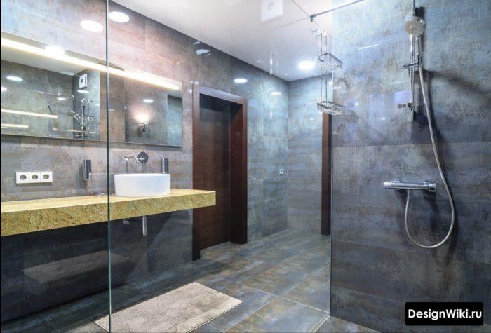 Плитка в стиле индастриал в ванной