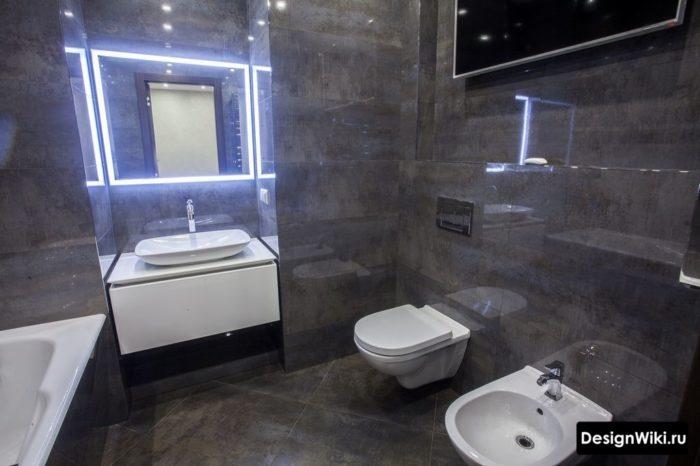 Плитка с имитацией металла в ванной в стиле лофт