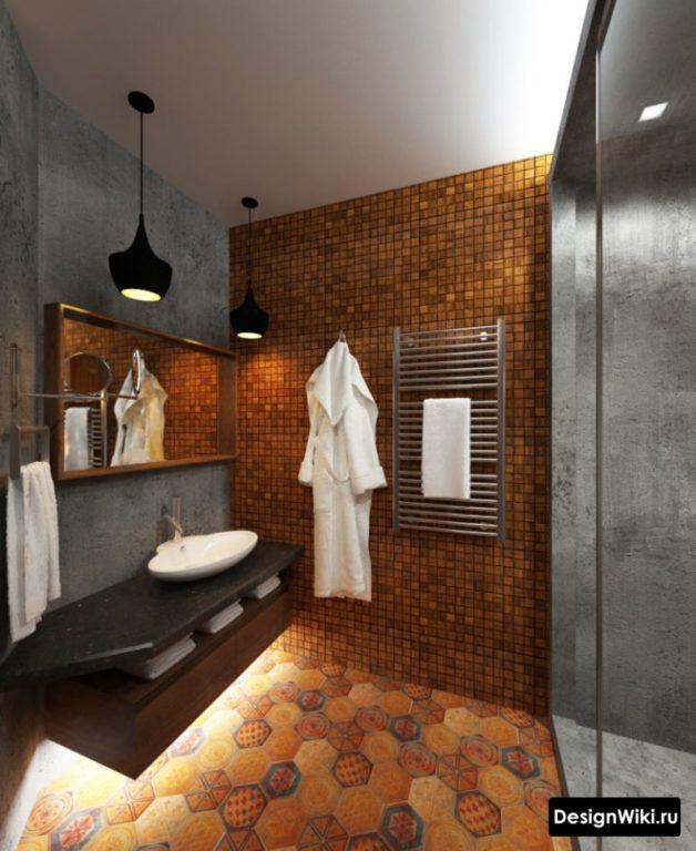 Подсветка подвесной тумбы в ванной в стиле лофт
